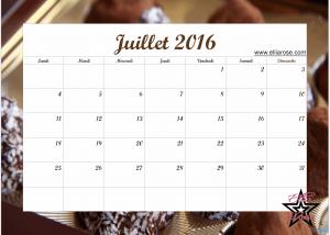 Calendrier Juillet 2016 Ellia Rose