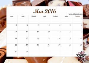 Calendrier Mai 2016 Ellia Rose