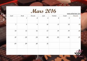 Calendrier Mars 2016 Ellia Rose
