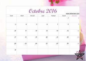 Calendrier Octobre 2016 Ellia Rose