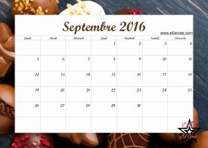 Calendrier Septembre 2016 Ellia Rose