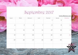Calendrier 2017 Ellia Rose septembre