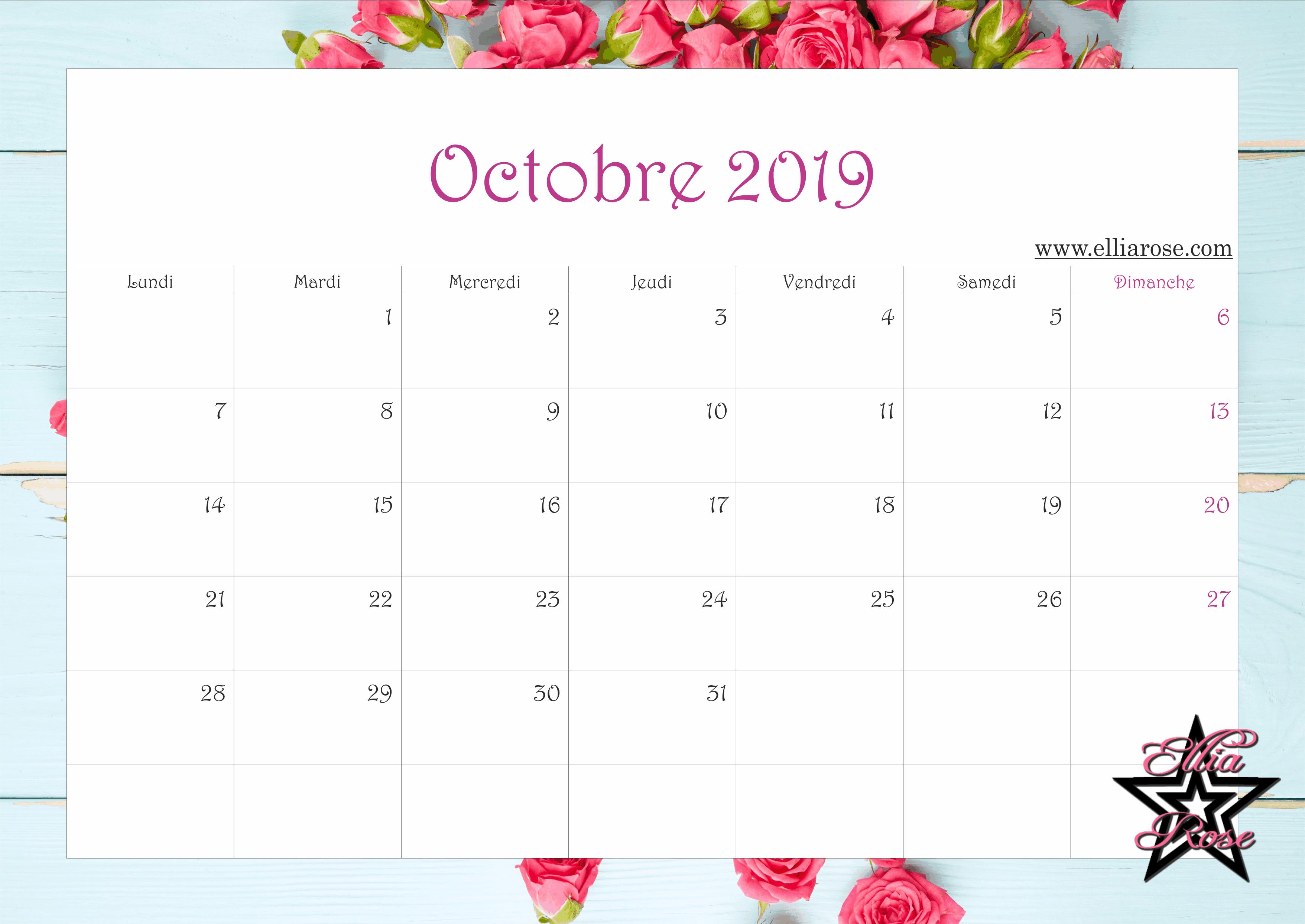 Calendrier A Imprimer Novembre 2019.Calendrier Gratuit A Imprimer Fleurs Sur Bois 2019